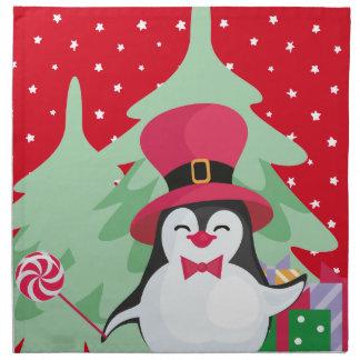 Servilleta De Tela Pingüino festivo con el trineo - rojo