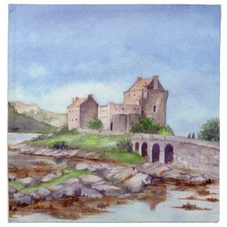 Servilleta De Tela Pintura de la acuarela del castillo de Eilean