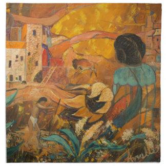 Servilleta De Tela Pintura de los habitantes del acantilado