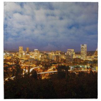 Servilleta De Tela Portland O paisaje urbano en la hora azul