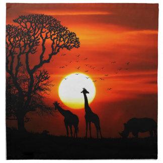 Servilleta De Tela Puesta del sol anaranjada en silueta de la jirafa