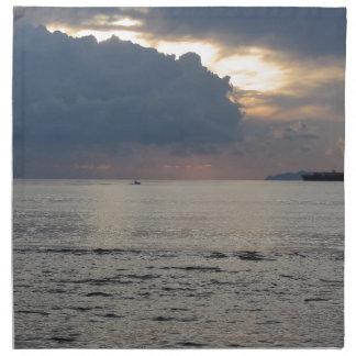 Servilleta De Tela Puesta del sol caliente del mar con el buque de