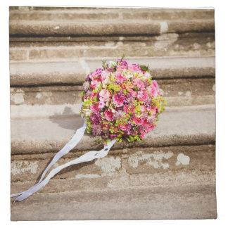 Servilleta De Tela Ramo floral del boda del rosa y del verde