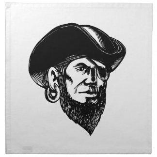 Servilleta De Tela Remiendo Scratchboard del ojo del pirata que lleva