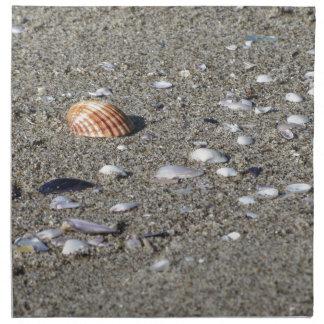 Servilleta De Tela Seashells en la arena. Fondo de la playa del