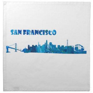 Servilleta De Tela Silueta del horizonte de San Francisco
