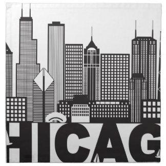 Servilleta De Tela Texto del horizonte de la ciudad de Chicago blanco