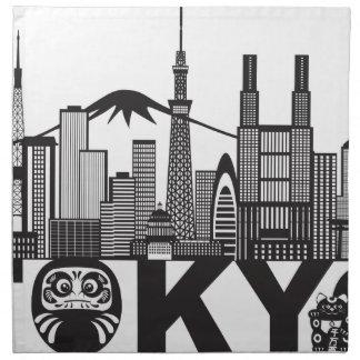 Servilleta De Tela Texto del horizonte de la ciudad de Tokio blanco y