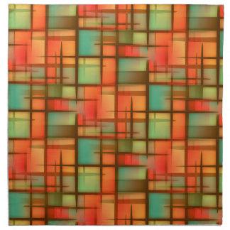 Servilleta De Tela Verde azul rojo de la tela escocesa abstracta