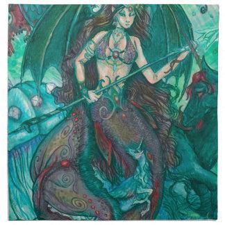 Servilleta De Tela Verde del trullo del mar del océano del unicornio