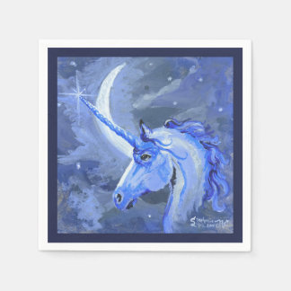 Servilleta del azul del unicornio de la luna servilleta desechable