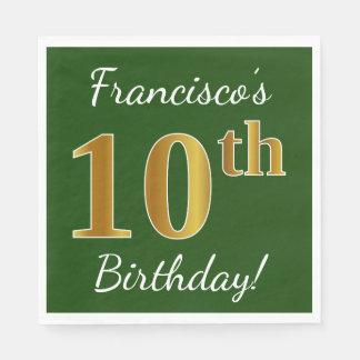 Servilleta Desechable 10mo cumpleaños del oro verde, falso + Nombre de