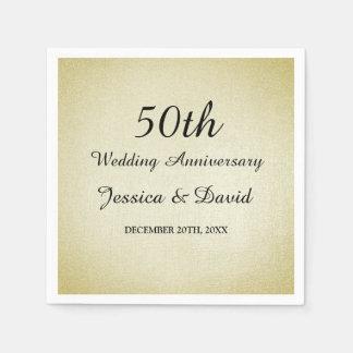 Servilleta Desechable 50.as servilletas del aniversario de boda del oro