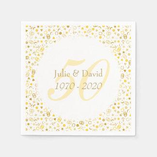 Servilleta Desechable 50.o Confeti del oro del aniversario de boda