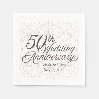 Servilleta Desechable 50.o Servilleta del aniversario de boda