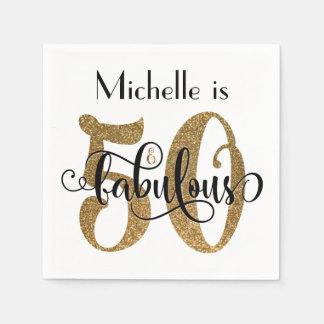 Servilleta Desechable 50 y cumpleaños fabuloso de la tipografía del