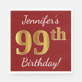 Servilleta Desechable 99.o cumpleaños del oro rojo, falso + Nombre de
