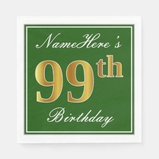 Servilleta Desechable 99.o cumpleaños elegante del oro verde, falso +