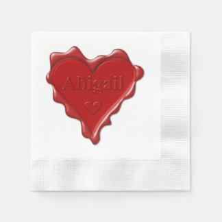 Servilleta Desechable Abigail. Sello rojo de la cera del corazón con