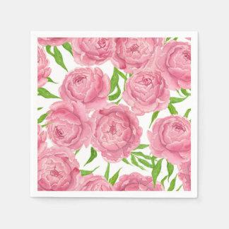 Servilleta Desechable Acuarela rosada de los peonies