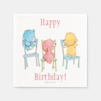 Servilleta Desechable Amarillo, rosado, y azul refiere sillas