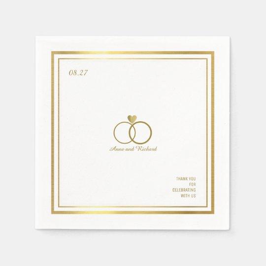 Servilleta Desechable ame el corazón y dos anillos de bodas, un elegante