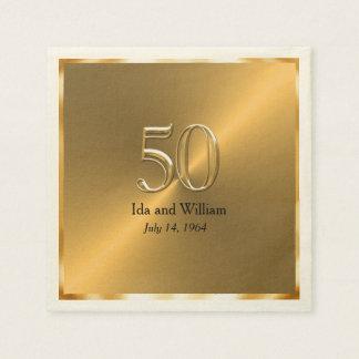 Servilleta Desechable Aniversario del marco 50.o del oro