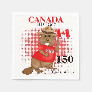 Servilleta Desechable Aniversario orgulloso canadiense del castor 150