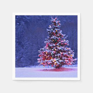 Servilleta Desechable Árbol de navidad nevado