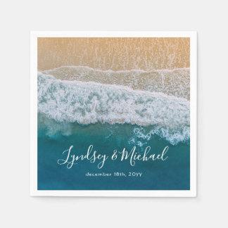 Servilleta Desechable Boda azul del océano de la playa elegante