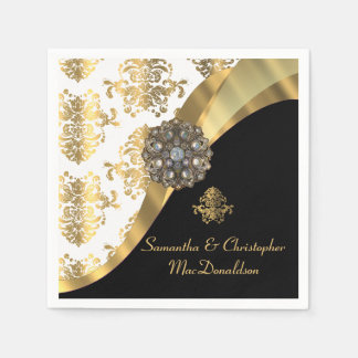 Servilleta Desechable Boda blanco, negro y del oro tradicional del