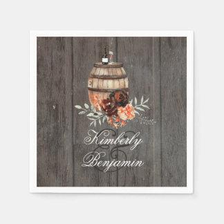Servilleta Desechable Boda de madera floral rústico del barril de vino