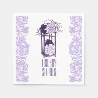 Servilleta Desechable Boda floral púrpura de la linterna de la lavanda