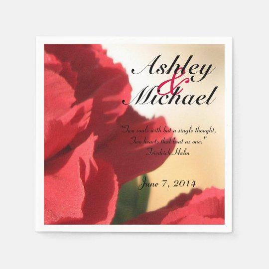 Servilleta Desechable Boda floral rojo de la cita de encargo