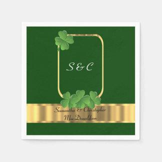 Servilleta Desechable Boda irlandés del verde, del oro y del trébol
