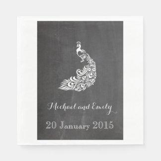 Servilleta Desechable Boda romántico de moda de la pizarra del peafowl
