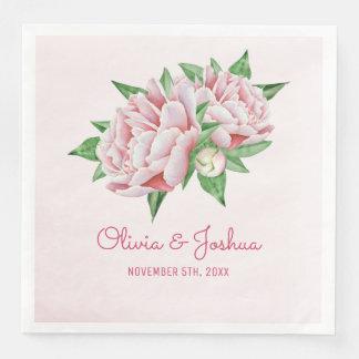 Servilleta Desechable Boda rosado de la flor de la acuarela del Peony