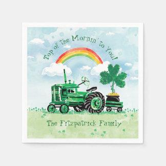 Servilleta Desechable El trébol verde del tractor del vintage añade