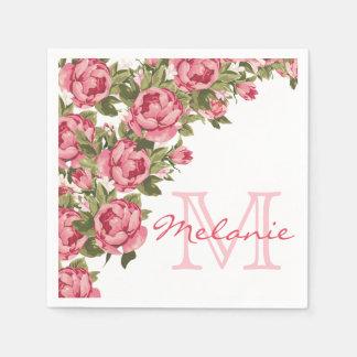 Servilleta Desechable El vintage se ruboriza los Peonies rosados nombre,