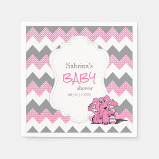 Servilleta Desechable Elefante lindo tonto rosado divertido del bebé de
