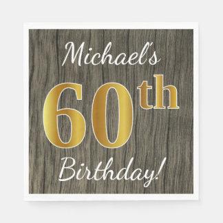 Servilleta Desechable Falsa madera, 60.o cumpleaños del falso oro +