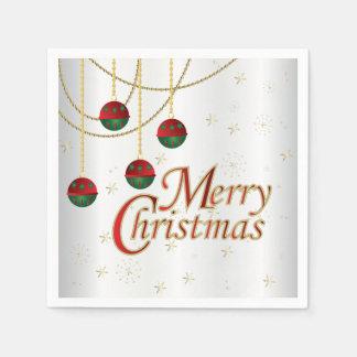 Servilleta Desechable Felices Navidad blancas brillantes