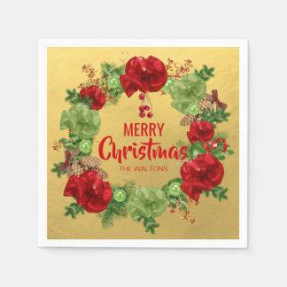 Servilleta Desechable Felices Navidad personalizadas de la guirnalda