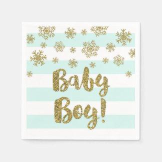 Servilleta Desechable Fiesta de bienvenida al bebé de la nieve del oro