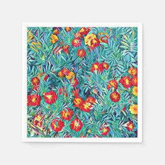 Servilleta Desechable Flores estilizadas que pintan la servilleta de