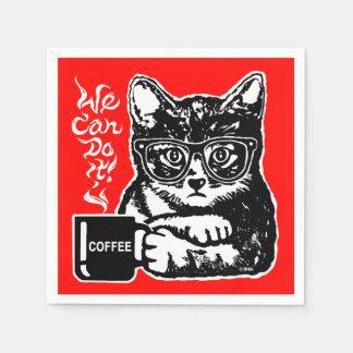 Servilleta Desechable Gato divertido motivado por el café