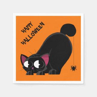 Servilleta Desechable Gato negro y araña de Halloween