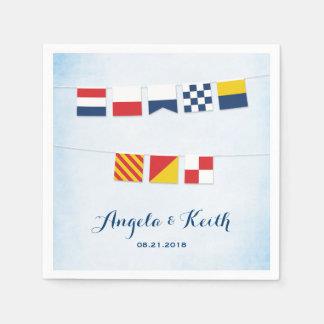 Servilleta Desechable GRACIAS en azul náutico de la nube de las banderas