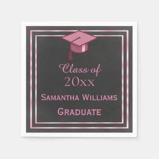 Servilleta Desechable Graduación enmarcada rosa elegante