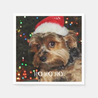 Servilleta Desechable HO HO HO, navidad, terrier de Yorkshire lindo